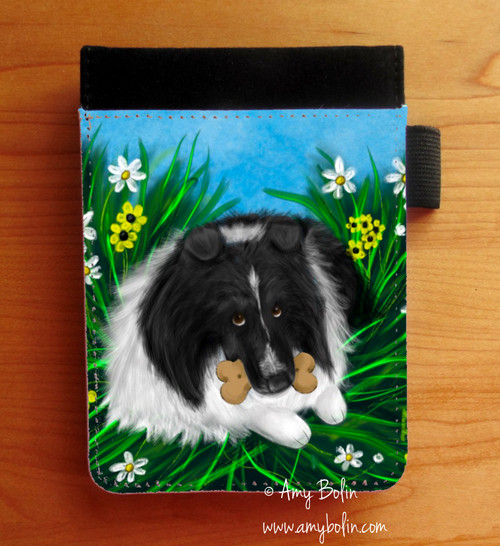 """A Secret Treat"" Bi Black Shetland Sheepdog Notebooks (several sizes available)"