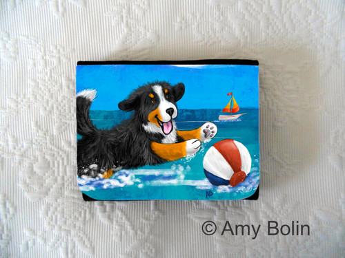 """Summertime Fun"" Bernese Mountain Dog Small Organizer Wallet"
