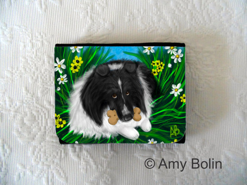 """A Secret Treat"" Bi Black Shetland Sheepdog Small Organizer Wallet"
