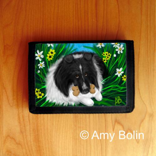 """""""A Secret Treat"""" Bi Black Shetland Sheepdog Trifold Wallet"""