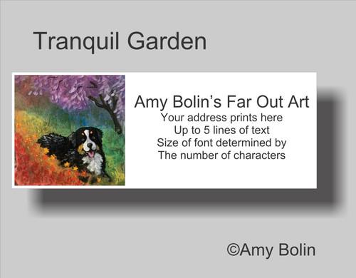 """""""Tranquil Garden"""" Bernese Mountain Dog Address Labels"""