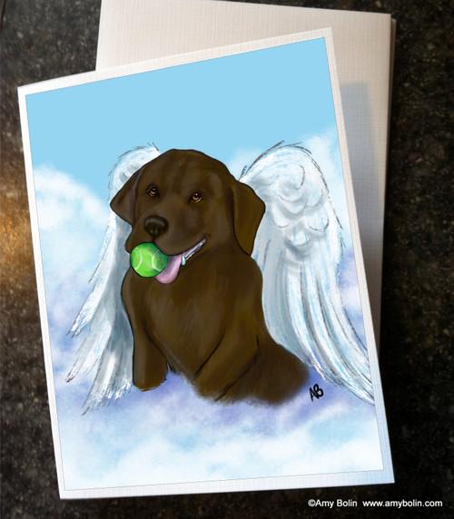 """""""Playful Angel"""" Chocolate Labrador Retriever Note Cards"""