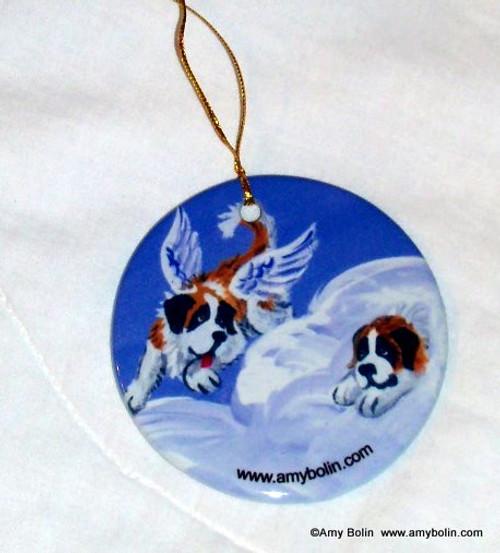 """Heavenly Hide & Seek"" Saint Bernard Ceramic Ornament Round"