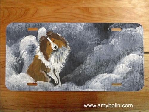 """Dog Barks & Angel Wings"" Sable Shetland Sheepdog License Plate"