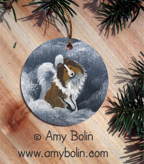 """Dog Barks & Angel Wings"" Sable Shetland Sheepdog Ceramic Ornament Round"