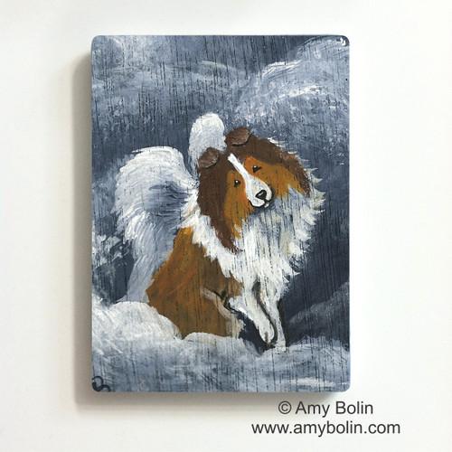 """Dog Barks & Angel Wings"" Sable Shetland Sheepdog Magnet"