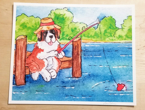 """Gone Fishing"" Saint Bernard Giclée Art Print"