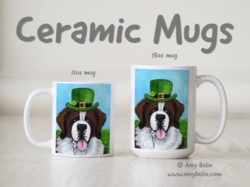 """A Big, Wet Irish Kiss"" Saint Bernard Ceramic Mug 11oz or 15oz"