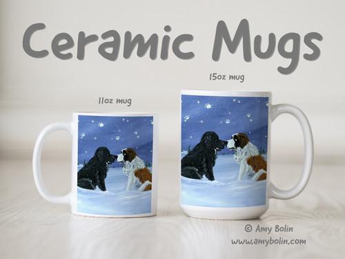 """""""A Cold, Wet Hello"""" Black Newfoundland & Saint Bernard Ceramic Mug 11oz or 15oz"""