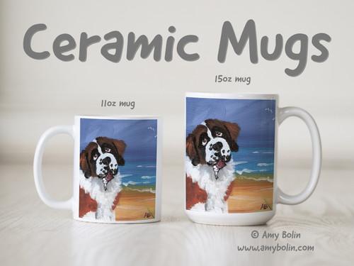 """A Day At The Beach"" Saint Bernard Ceramic Mug 11oz or 15oz"