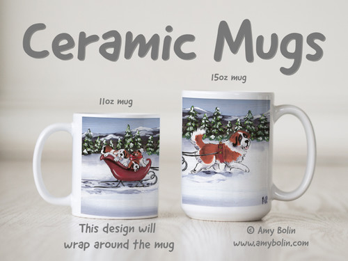 """""""A Wintry Ride"""" Saint Bernard Ceramic Mug 11oz or 15oz"""
