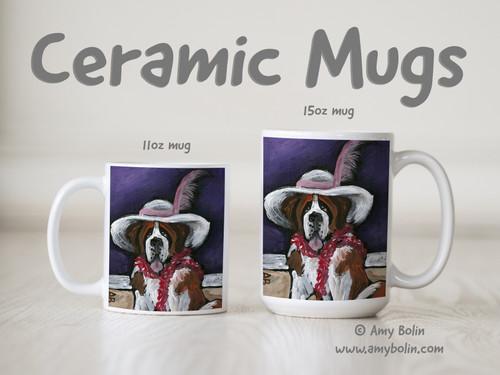 """""""All Dressed Up With Nowhere To Go"""" Saint Bernard Ceramic Mug 11oz or 15oz"""
