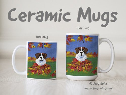 """Autumn's Simple Pleasures 3"" Saint Bernard Ceramic Mug 11oz or 15oz"