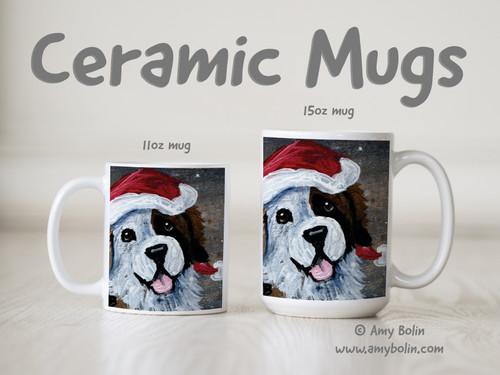 """Be Jolly"" Half Mask Saint Bernard Ceramic Mug 11oz or 15oz"