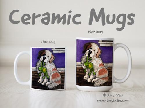 """Bedtime Buddies"" Half Mask Saint Bernard Ceramic Mug 11oz or 15oz"