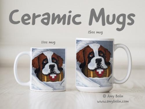 """Break Time"" Saint Bernard Ceramic Mug 11oz or 15oz"