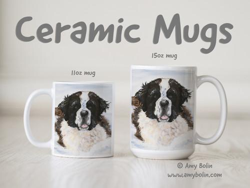 """Charlie's Snow Day"" Saint Bernard Ceramic Mug 11oz or 15oz"