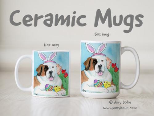 """""""Easter Saint"""" Half Mask Saint Bernard Ceramic Mug 11oz or 15oz"""