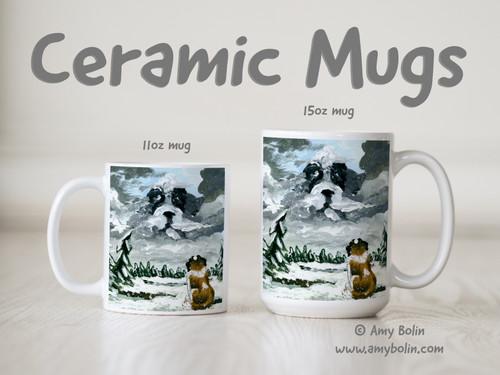 """First Snow"" Saint Bernard Ceramic Mug 11oz or 15oz"