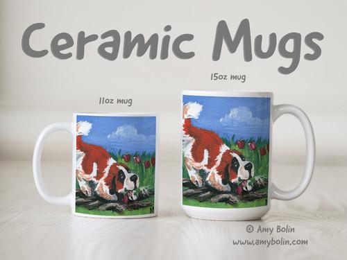 """Little Gardener"" Saint Bernard Ceramic Mug 11oz or 15oz"