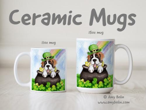 """Lucky Saint"" Saint Bernard Ceramic Mug 11oz or 15oz"