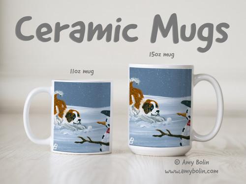 """""""My Snowy Friend"""" Saint Bernard Ceramic Mug 11oz or 15oz"""