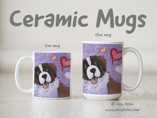 """My Valentine"" Saint Bernard Ceramic Mug 11oz or 15oz"