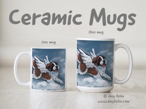 """""""Playful Angel"""" Saint Bernard Ceramic Mug 11oz or 15oz"""