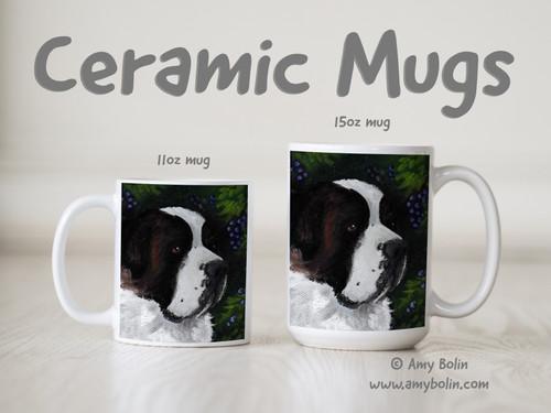 """""""Prunelle"""" Saint Bernard Ceramic Mug 11oz or 15oz"""