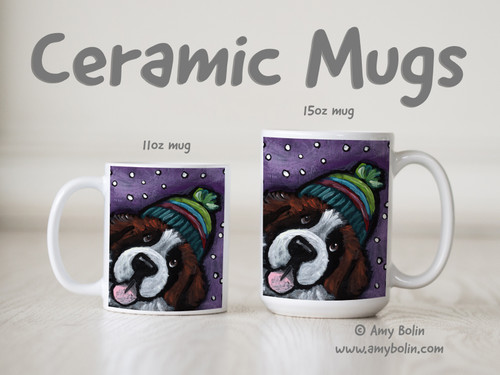 """Snowy Weather"" Saint Bernard Ceramic Mug 11oz or 15oz"