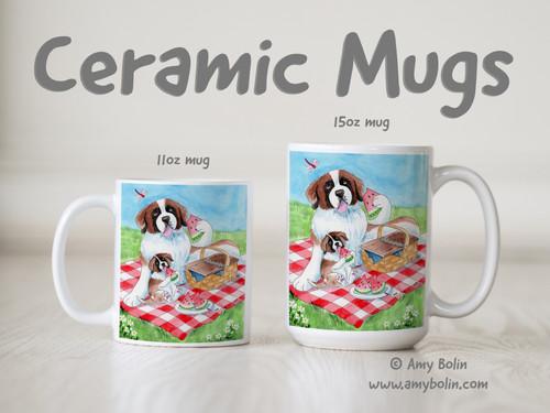 """The Sweet Taste Of Summer"" Saint Bernard Ceramic Mug 11oz or 15oz"