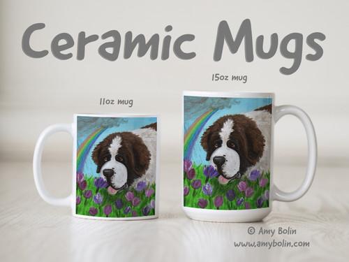"""""""Tip Toe Through Mom's Tulips"""" Saint Bernard Ceramic Mug 11oz or 15oz"""