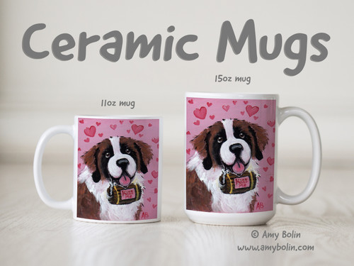 """""""Valentine Kisses"""" Saint Bernard Ceramic Mug 11oz or 15oz"""