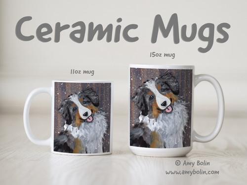 """Let It Snow"" Blue Merle Australian Shepherd Ceramic Mug 11oz or 15oz"