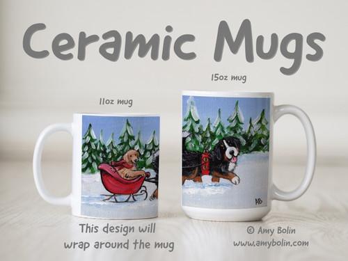 """""""A Wintry Ride"""" Bernese Mountain Dog & Golden Retriever Ceramic Mug 11oz or 15oz"""