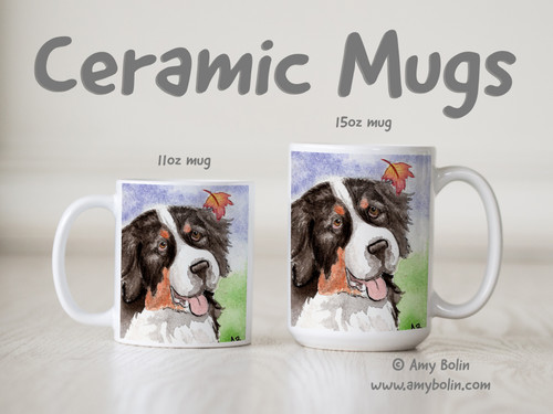 """Autumn Berner"" Bernese Mountain Dog Ceramic Mug 11oz or 15oz"