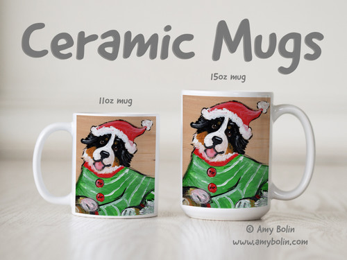 """Christmas Cuddlies"" Bernese Mountain Dog Ceramic Mug 11oz or 15oz"