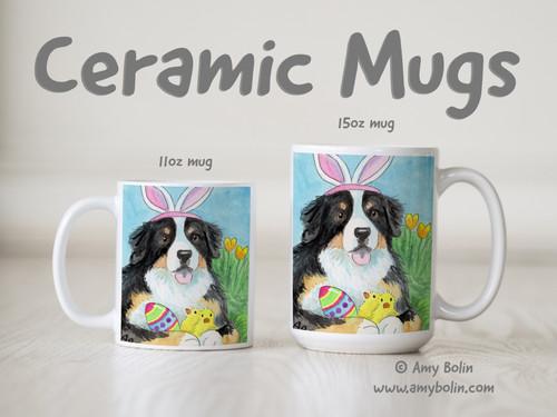 """""""Easter Bernie"""" Bernese Mountain Dog Ceramic Mug 11oz or 15oz"""