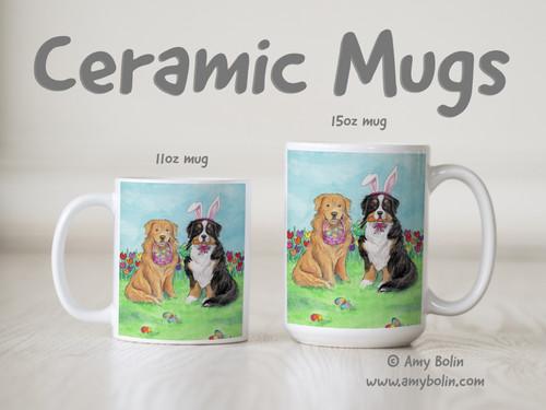 """""""Easter Buddies"""" Bernese Mountain Dog & Golden Retriever Ceramic Mug 11oz or 15oz"""