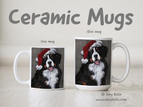 """Merry Merlin"" Bernese Mountain Dog Ceramic Mug 11oz or 15oz"