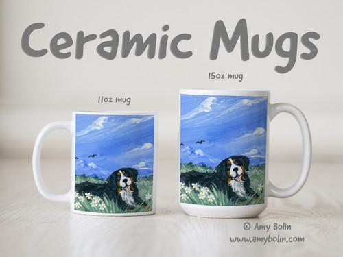 """Mountain Home"" Bernese Mountain Dog Ceramic Mug 11oz or 15oz"