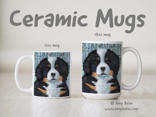 """Puppy Eyes"" Bernese Mountain Dog Ceramic Mug 11oz or 15oz"