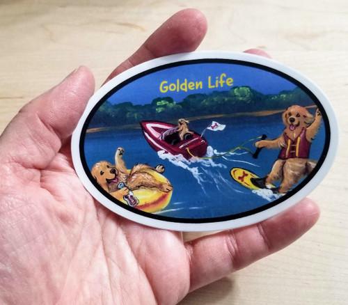 """Golden Life - Goldens On The Lake"" Golden Retriever dog Decal / Sticker"