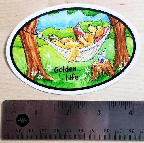 """Golden Life - Summer Is For Reading"" Golden Retriever dog Decal / Sticker"