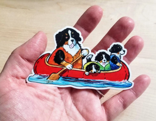 """""""Berners On The River"""" Bernese Mountain Dog Decal / Sticker"""