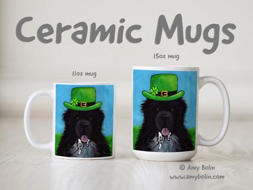 """A Big, Wet Irish Kiss"" Irish Spotted Newfoundland Ceramic Mug 11oz or 15oz"