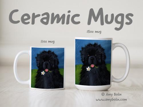 """""""A Flower For Mom"""" Black Newfoundland Ceramic Mug 11oz or 15oz"""