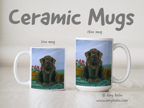 """A Little Visitor"" Brown Newfoundland Ceramic Mug 11oz or 15oz"