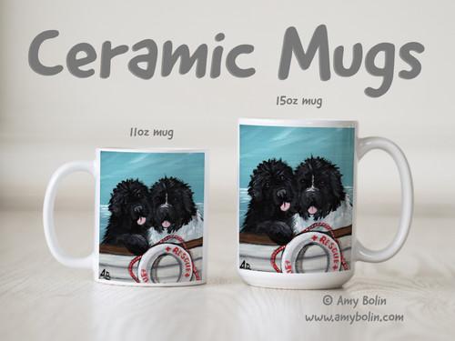 """Ahoy!"" Black & Landseer Newfoundland Ceramic Mug 11oz or 15oz"