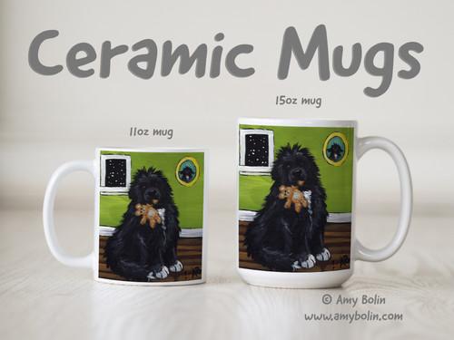 """Bedtime Buddies"" Irish Spotted Newfoundland Ceramic Mug 11oz or 15oz"